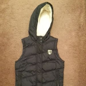 American Eagle Outfitters Blue Hooded Puffer Vest